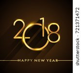 new year 2018 golden colored... | Shutterstock .eps vector #721371472