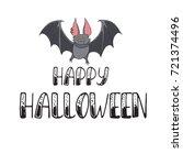 happy halloween lettering. hand ... | Shutterstock .eps vector #721374496