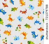 pattern of a pretty dinosaur   Shutterstock .eps vector #721379788