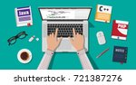 workplace of programmer or... | Shutterstock . vector #721387276