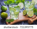 two glasses of refreshing cold... | Shutterstock . vector #721395775