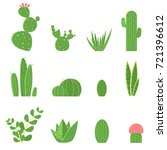flat set of cacti and... | Shutterstock . vector #721396612