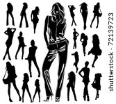 a lot of vector silhouettes of... | Shutterstock .eps vector #72139723
