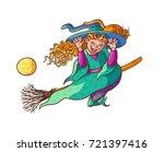 bright vector happy girl witch... | Shutterstock .eps vector #721397416