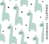 seamless pattern with cute baby ... | Shutterstock .eps vector #721399405