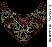 floral neckline embroidery... | Shutterstock .eps vector #721401148