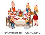 holiday dinner party... | Shutterstock .eps vector #721402342