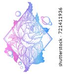 esoteric rose tattoo art and t... | Shutterstock .eps vector #721411936