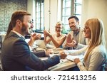 creative business team finished ... | Shutterstock . vector #721413256