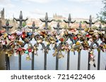 Small photo of Prague fifteenth of July 2017, Love lock on a bridge. Love couples declare their love by locking custom engraved names on a lock on a bridge.