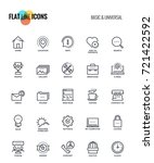 set of flat line basic and... | Shutterstock .eps vector #721422592