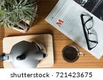 hot coffee in espresso cup with ...   Shutterstock . vector #721423675