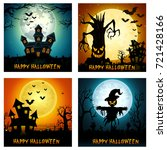 happy halloween banner set | Shutterstock . vector #721428166