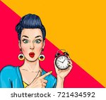 surprised comic woman with... | Shutterstock . vector #721434592