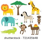 african animals vector set | Shutterstock .eps vector #721435648
