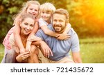 happy family in harmony with... | Shutterstock . vector #721435672