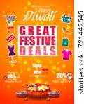 firecracker on happy diwali... | Shutterstock .eps vector #721442545