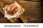 high angle view of baked bread... | Shutterstock . vector #721443415