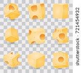 cheese slices vector set  | Shutterstock .eps vector #721454932
