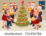 winter family christmas tree... | Shutterstock .eps vector #721456786