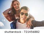 happy couple having fun outdoor ... | Shutterstock . vector #721456882