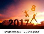 silhouette human happy for 2018 ... | Shutterstock . vector #721461055