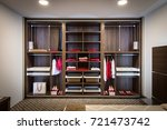 built in closet with warderobe... | Shutterstock . vector #721473742