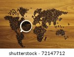 Beautiful Coffee Map On Wooden...