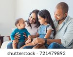 multiethnic family playing with ... | Shutterstock . vector #721479892