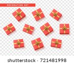set gift box pink  with gold... | Shutterstock .eps vector #721481998