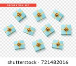 set gift box blue  with gold... | Shutterstock .eps vector #721482016