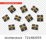 set gift box black  with gold... | Shutterstock .eps vector #721482055