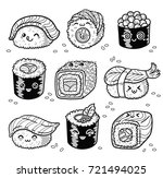collection of kawaii rolls and... | Shutterstock .eps vector #721494025