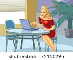 a young woman sitting at table... | Shutterstock .eps vector #72150295