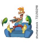 cartoon man watching tv | Shutterstock .eps vector #72150298