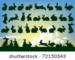 easter rabbit outlines with sky ... | Shutterstock .eps vector #72150343
