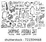 set of shopping doodle... | Shutterstock .eps vector #721504468