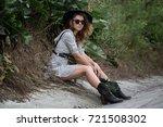 portrait of a model girl in a... | Shutterstock . vector #721508302