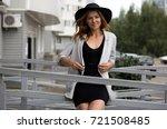 porter girl model in a... | Shutterstock . vector #721508485