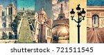 paris france  panoramic photo... | Shutterstock . vector #721511545