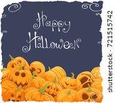 many pumpkins on a dark... | Shutterstock .eps vector #721515742