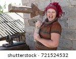 young beautiful girl chopping... | Shutterstock . vector #721524532