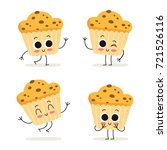 muffin. cute fast food dessert... | Shutterstock .eps vector #721526116