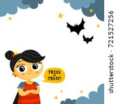 cute halloween vector greeting... | Shutterstock .eps vector #721527256