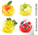 set of fruit juice splash.... | Shutterstock .eps vector #721528186
