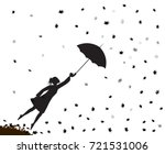 young girl flying away with an... | Shutterstock .eps vector #721531006