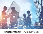 silhouettes of business people... | Shutterstock . vector #721534918
