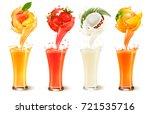 set of fruit juice splash in a... | Shutterstock .eps vector #721535716