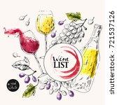 hand drawn wine background. ink ... | Shutterstock .eps vector #721537126