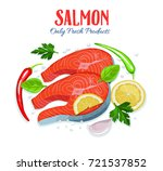 red fish salmon pieces with... | Shutterstock .eps vector #721537852